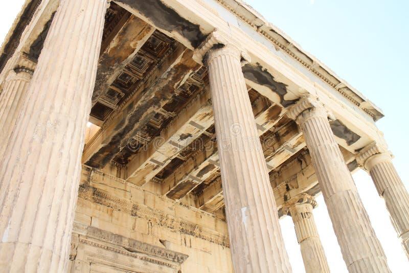 Kolommen van Erechtheum-Tempel, Akropolis, Athene royalty-vrije stock afbeeldingen