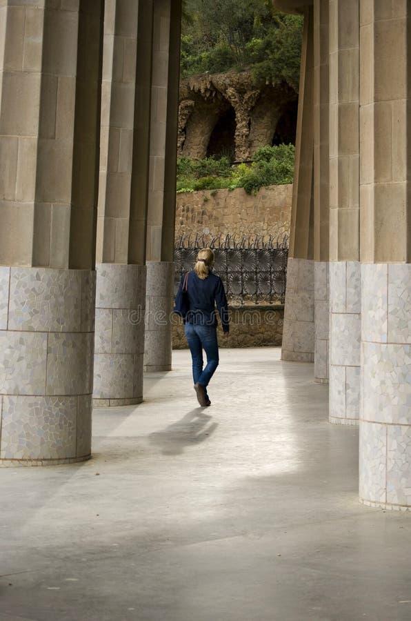 KOLOMMEN VAN GÃœELL-PARK IN BARCELONA, SPANJE royalty-vrije stock foto