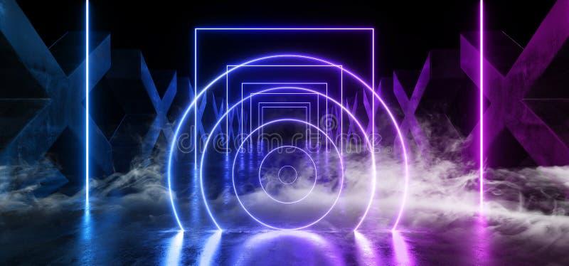 Kolommen X van Grunge van de rookmist Concrete de Cirkel Gevormde Weg van FI van Hall Reflective Neon Glowing Sci van de Gangtunn royalty-vrije illustratie