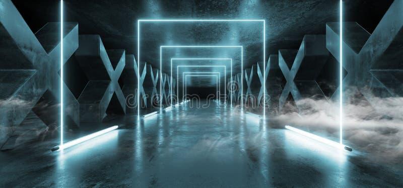 Kolommen X van Grunge van de rookmist Concrete Gestalte gegeven de Wegblauw van FI van Hall Reflective Neon Glowing Sci van de Ga royalty-vrije illustratie