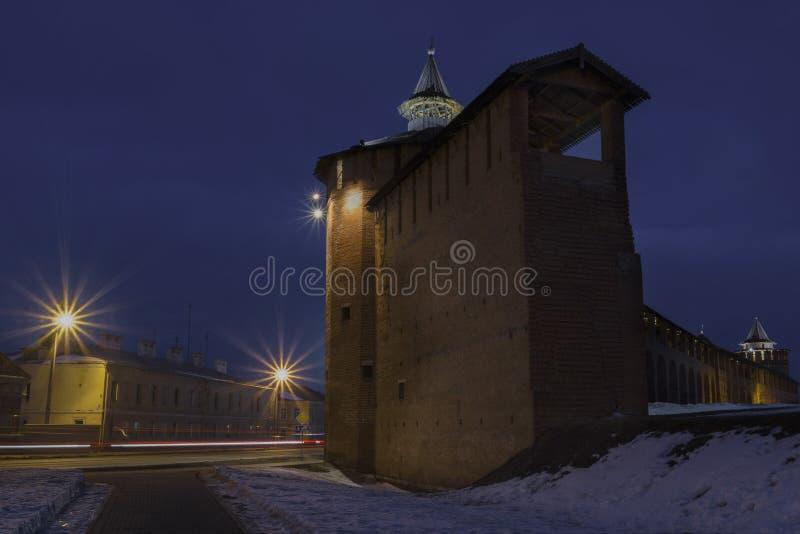 Kolomna Kremlin przy nocą zdjęcia royalty free