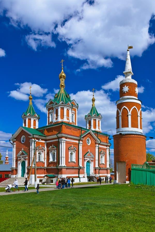 KOLOMNA, RUSSIA - MAY 03, 2014: Walking people in Uspensky Brusensky monastery in the Kolomna Kremlin - Russia - Moscow region stock image