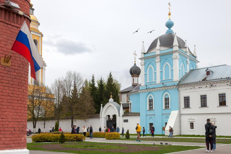 The architectural ensemble of the Cathedral Square in the Kolomna Kremlin. KOLOMNA, RUSSIAN FEDERATION - MAY 04, 2019:  The architectural ensemble of the royalty free stock image