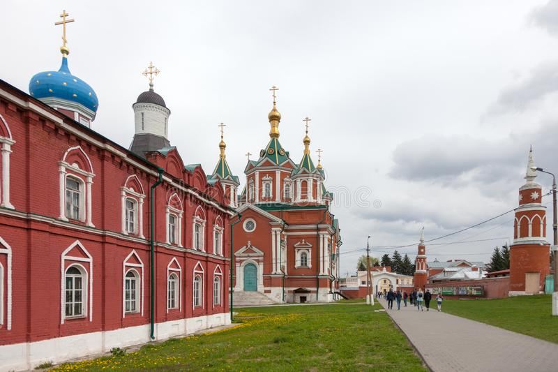 The architectural ensemble of the Cathedral Square in the Kolomna Kremlin. KOLOMNA, RUSSIAN FEDERATION - MAY 04, 2019:  The architectural ensemble of the stock images