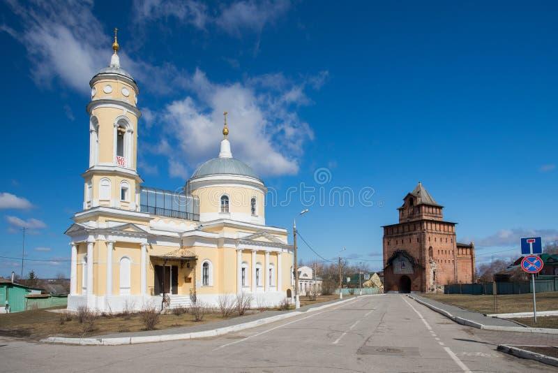 Kolomna, Russland Kirche von Exaltation des Kreuzes mit Pyatnitsky G lizenzfreie stockfotos