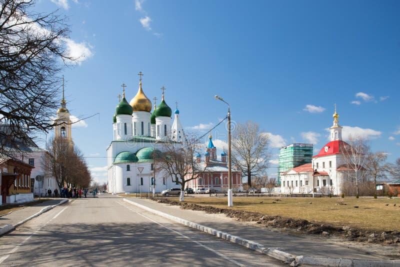 Kolomna, Russland Orthodoxes Churchs auf Kolomna der Kreml in Sunny Da lizenzfreie stockfotos