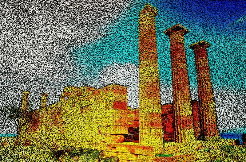 Kolomtempel van godin Linda op het Eiland Rhodos, de technologie van de pixelkunst van 3D kubussen 3D Illustratie stock illustratie