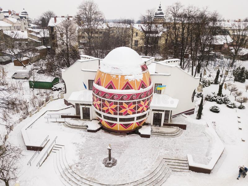 Winter view to Ukrainian Easter painted egg Pysanka Museum royalty free stock photography