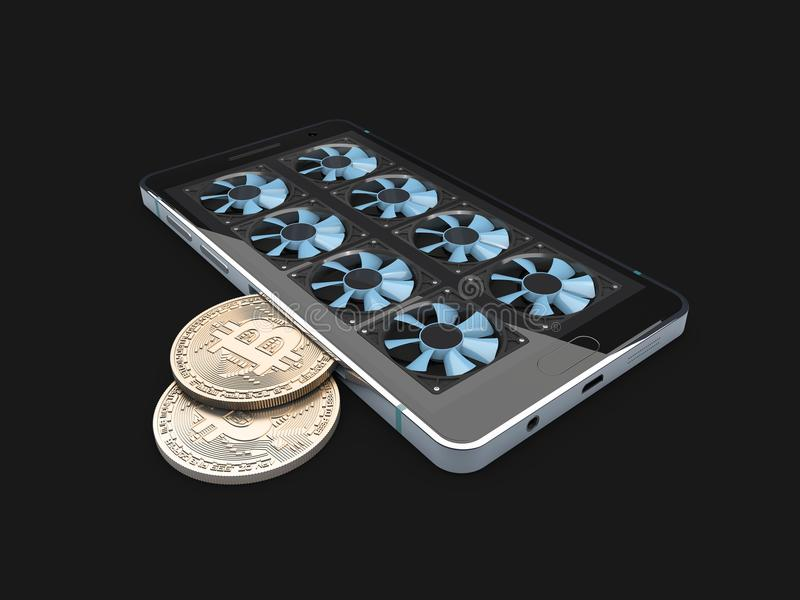 kolonel Bitcoin gospodarstwo rolne pracujący telefonu wyposażenie odosobniony czerń, 3d ilustracja ilustracja wektor