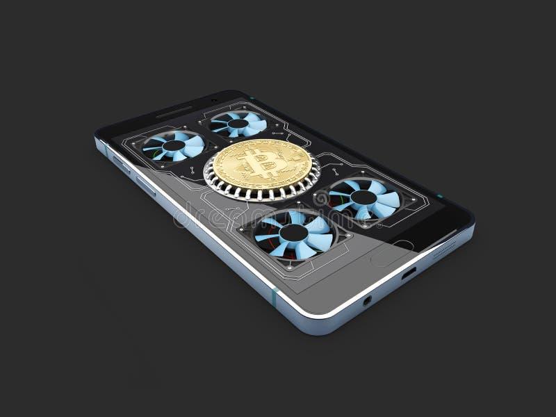 kolonel Bitcoin gospodarstwo rolne pracujący telefonu wyposażenie odosobniony czerń, 3d ilustracja royalty ilustracja