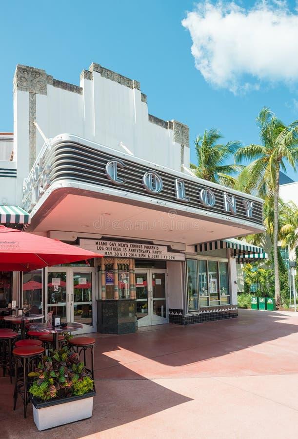 Koloni Theatre w Miami plaży obrazy royalty free