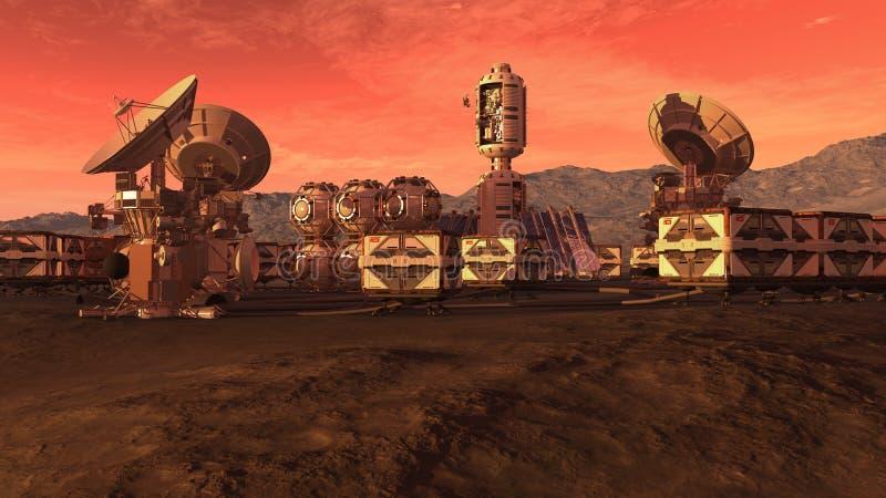 Kolonia na czerwonej planecie ilustracja wektor