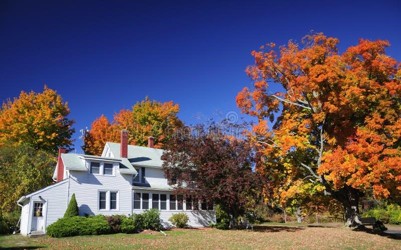 Koloniaal de dalingsgebladerte van New England van het Landbouwbedrijfhuis stock fotografie