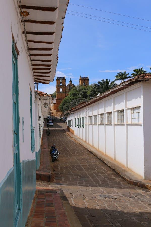 Koloniaal dorp van Barichara dichtbij San Gil, Colombia stock afbeeldingen