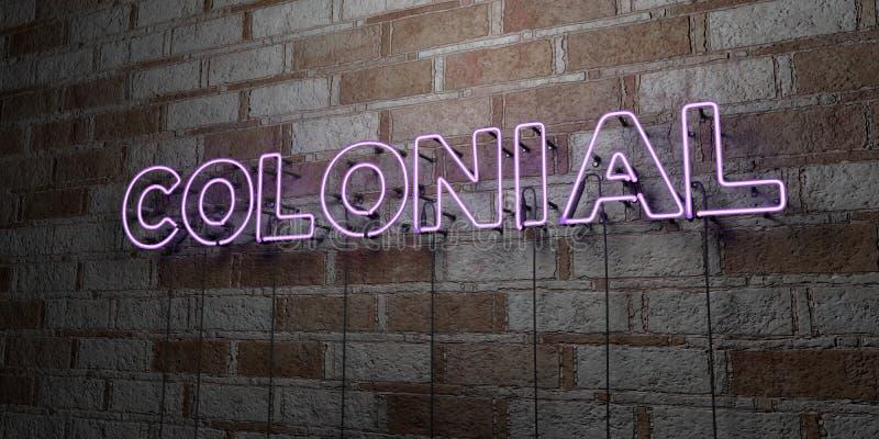 KOLONIAAL - Gloeiend Neonteken op metselwerkmuur - 3D teruggegeven royalty vrije voorraadillustratie vector illustratie