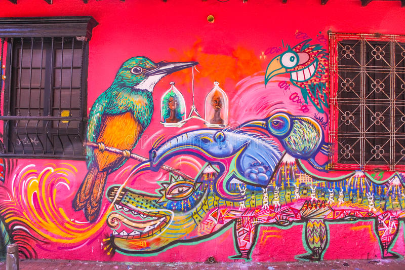 Koloniaal huis met graffiti La Candelaria, Bogota, Colombia vector illustratie