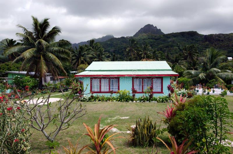Koloniaal huis in Rarotonga Cook Islands royalty-vrije stock afbeeldingen