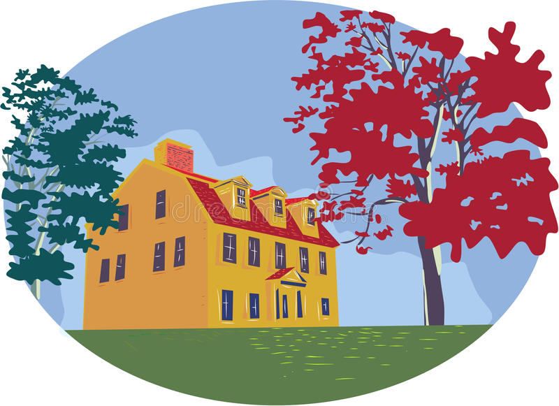 Koloniaal Huis WPA royalty-vrije illustratie