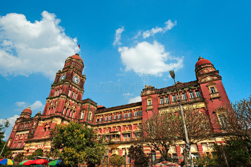 Koloniaal paleis in Yangon, Myanmar. stock afbeeldingen