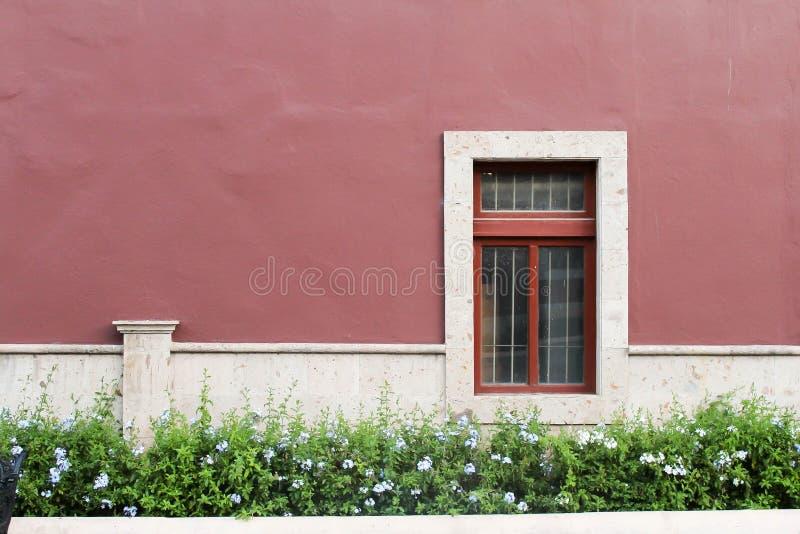 Koloniaal venster die tot een oud huis in het historische centrum van de stad van Aguascalientes behoren stock afbeeldingen