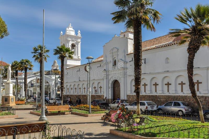 Kolonial arkitektur i Sucre, Bolivia arkivbilder