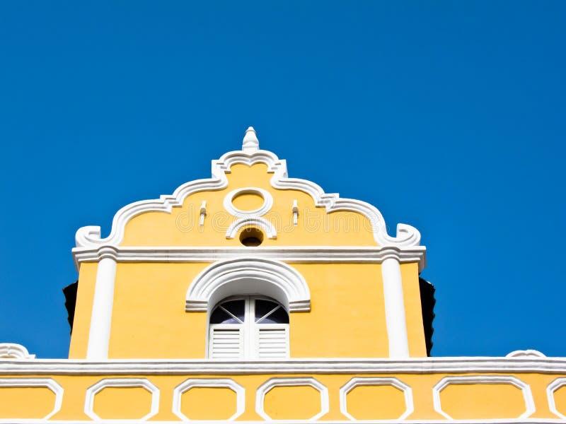 kolonial curacao för byggnad willemstad arkivbild
