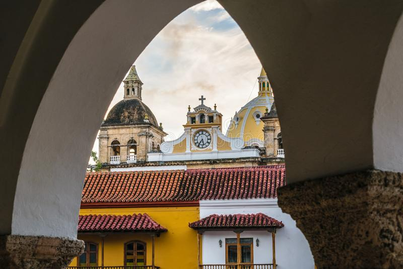 Kolonialbauten von Cartagena Kolumbien stockbilder