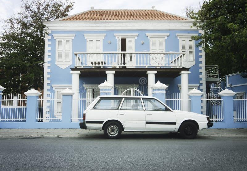 Koloniale Architectuur in Willemstad, Curacao, Nederland Antill stock afbeeldingen
