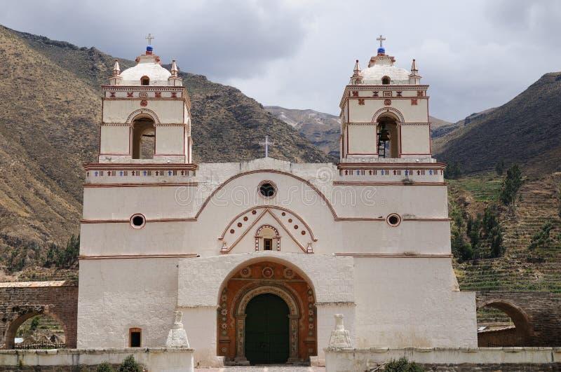 Koloniale churcche in Peru, Yanque, canion Colca royalty-vrije stock foto's