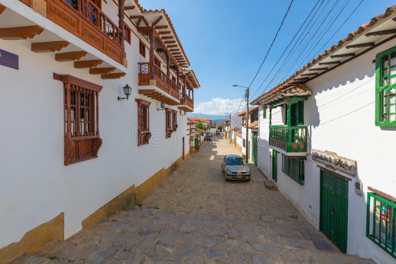 Koloniale huizen in het historische centrum van Villa DE Leyva Colombi royalty-vrije stock afbeeldingen
