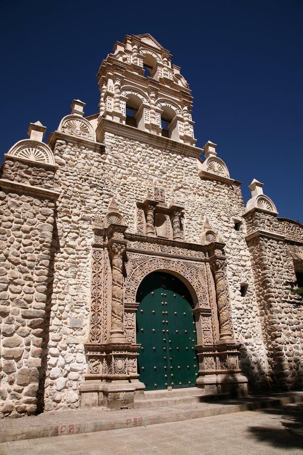 Koloniale Kerk, Bolivië stock afbeelding