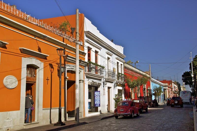 Koloniale straat, Oaxaca, Mexico royalty-vrije stock foto's