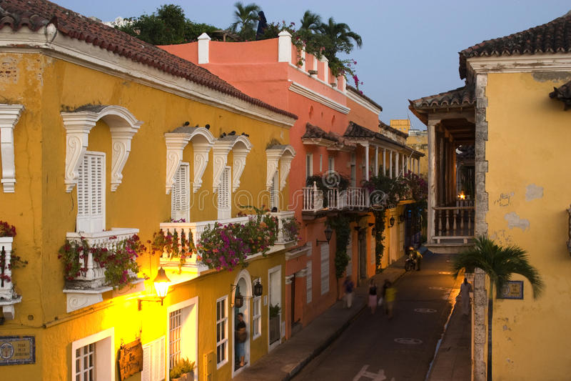 Koloniale straatscène, Cartagena, Colombia royalty-vrije stock foto's