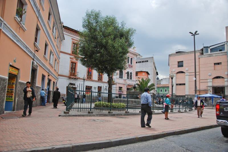 Koloniale straten van Quito stock afbeelding