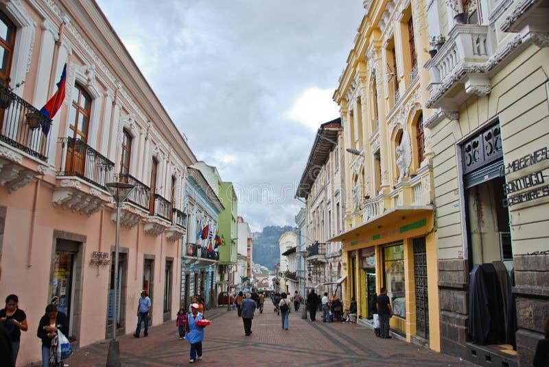 Koloniale straten van Quito stock fotografie