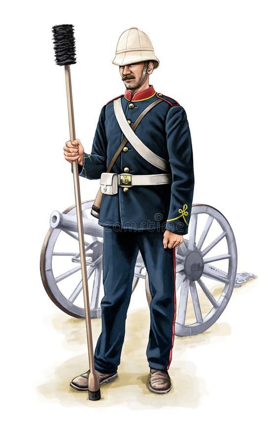 kolonialnego wiktoriański brytyjski artylerzysta ilustracji