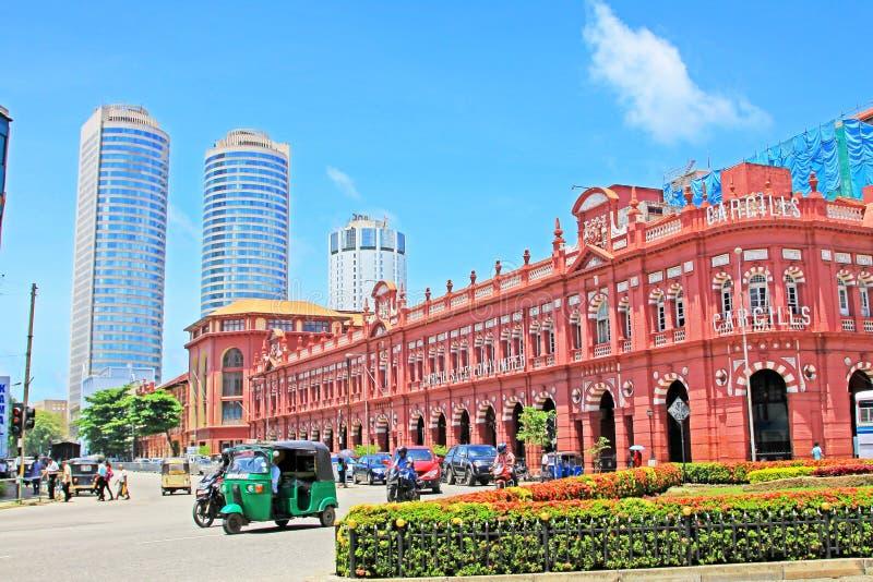 Kolonialny budynek i world trade center, Sri Lanka Kolombo obraz royalty free