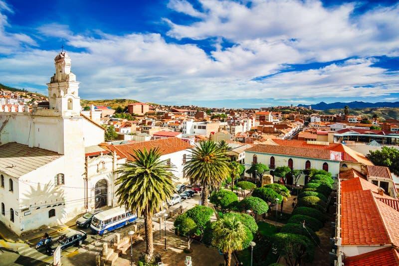 Kolonialny stary miasteczko Sucre w Boliwia obraz stock
