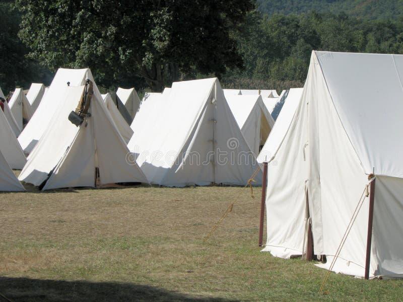 Kolonialzeitraum-Briten-Zelte stockbild