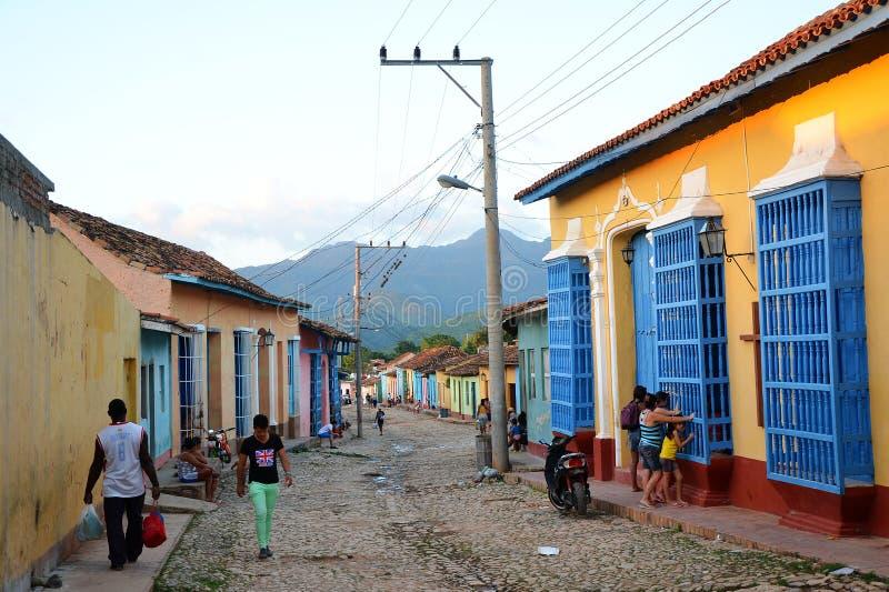 Koloniinvånare Trinidad och dess gamla gator, Kuba royaltyfria bilder
