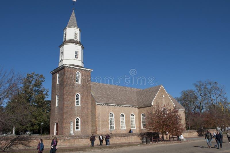 KoloniinvånareWilliamsburg kyrka arkivfoton