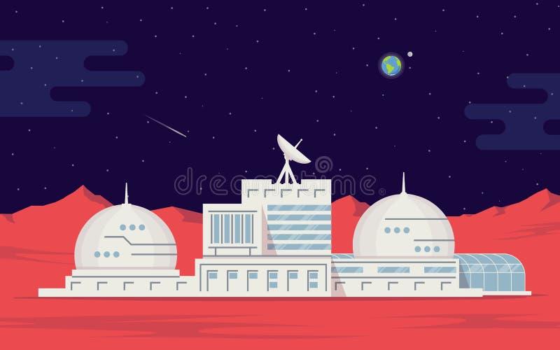 Kolonisatie van Mars Ruimtebasismensen op de rode planeet Ruimteexploratie en technologie vector illustratie