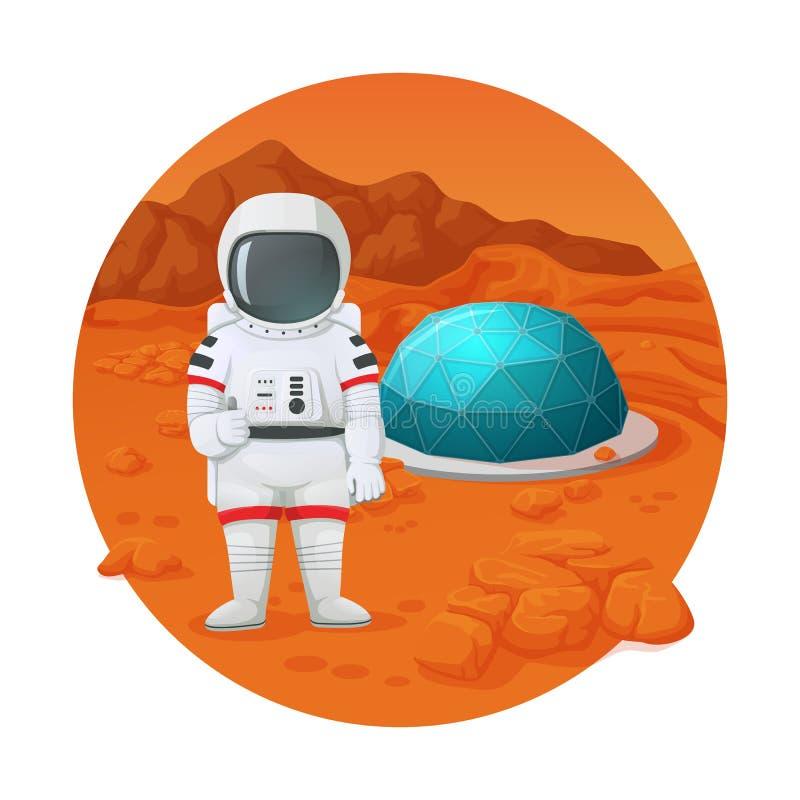 Kolonisation av fördärvar Astronautet danande somtummar gör en gest upp anseende på, fördärvar yttersida nära bosättning med den  royaltyfri illustrationer