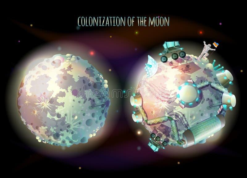 Kolonisation av illustrationen för månevektorbegrepp stock illustrationer
