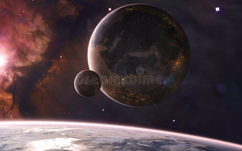 Koloniserade planeter i djupa utrymmen i varmt stjärnljus Nebulae, stjärnkluster science fiction royaltyfri bild