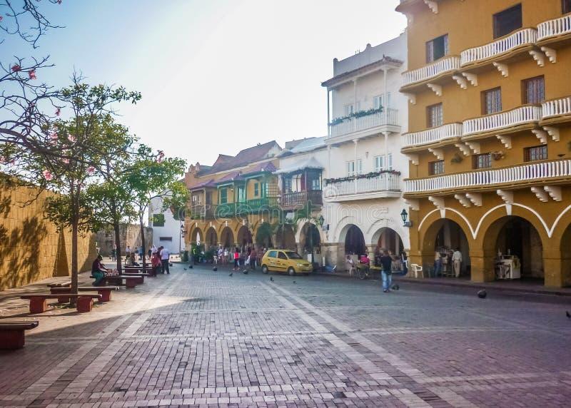 Kolonista Stylowa ulica w Cartagena Kolumbia zdjęcie stock