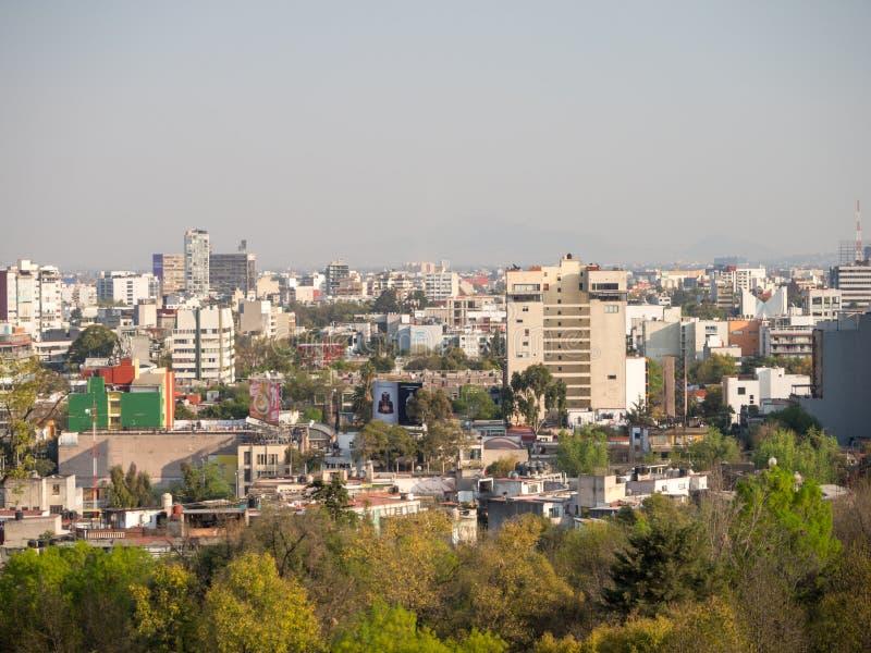 Kolonisty Chapultepec kasztelu widoki Meksyk, wzgórze, park, budynki zdjęcie stock