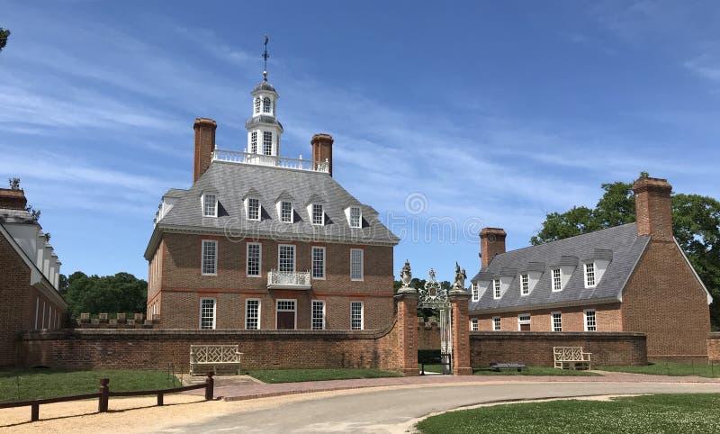 Kolonisty Williamsburg Governor's pałac zdjęcia royalty free
