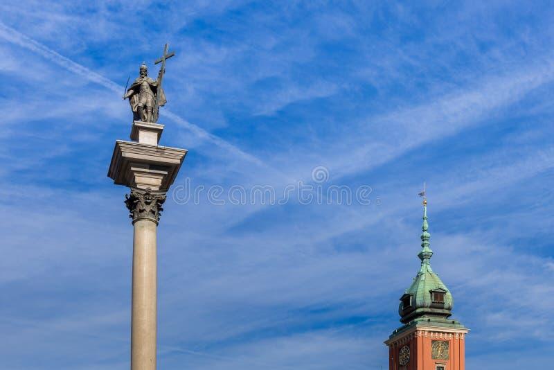 Kolonn av Sigismund på Warszawa i Polen royaltyfria foton