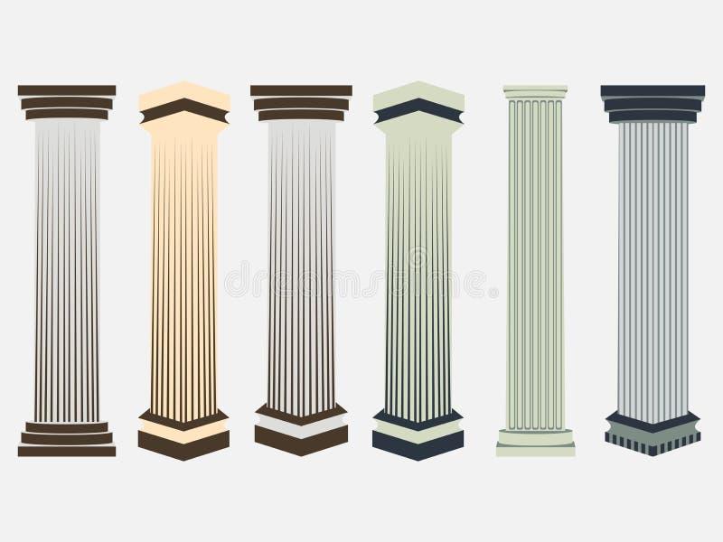 kolonn Dorisk romersk stil inställda kolonner också vektor för coreldrawillustration stock illustrationer